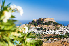 Cityscape of Lindos village and Acropolis Royalty Free Stock Images