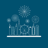 Cityscape in linear style, Skyscrapers with celebration fireworks background. Royalty Free Stock Photo