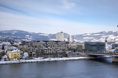 Cityscape of Linz from Linzer Schloss. Royalty Free Stock Image