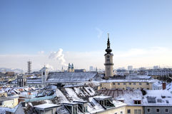Cityscape of Linz from Linzer Schloss. Stock Image