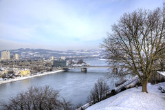 Cityscape of Linz from Linzer Schloss. Royalty Free Stock Photo