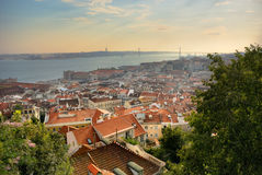 Cityscape of Lisbon with 25 April bridge Stock Photography