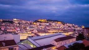 Cityscape Lisbon at Night Stock Photography