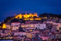 Cityscape Lisbon at Night Stock Image