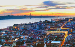 Cityscape of Lisbon at twilight Stock Photo