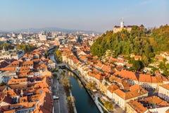 Cityscape of Ljubljana, capital of Slovenia in warm afternoon sun. royalty free stock photo
