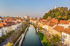 Cityscape of Ljubljana, capital of Slovenia in warm afternoon sun. stock photo