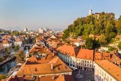 Cityscape of Ljubljana, capital of Slovenia in warm afternoon sun. stock image