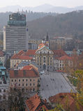 Cityscape of Ljubljana, view from the Castle hill Stock Photo