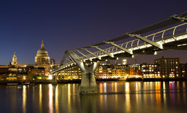 Cityscape of London at the blue hour. With Saint Paul cathedral, England Royalty Free Stock Photography