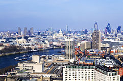 Cityscape from London Eye. Cityscape view of buildings and Thames River from London Eye Royalty Free Stock Photography