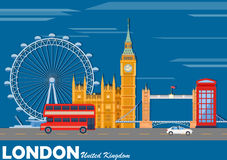 Cityscape of London with famous monument Stock Images