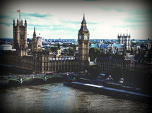 Cityscape of London with houses of Parliament , Big Ben and  Westminster Abbey Stock Photos