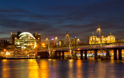 Cityscape of London at Hungerford Bridge. Thames River Walk, London, England Royalty Free Stock Photo