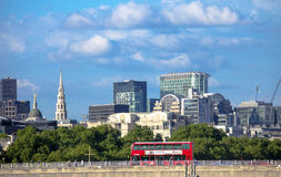 Cityscape of London in late afternoon light from Hungerford Bridge. Stock Image