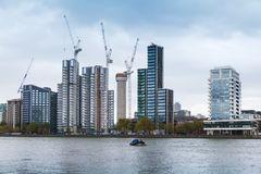Cityscape of London, modern skyscrapers. Under construction Stock Photography