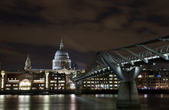 Cityscape of London at night. With Millenium bridge and St Paul cathedral, England Stock Photo