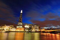 Cityscape of London at night Stock Images