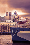 Cityscape of London with skyscrapers view from Thames Stock Image