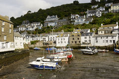 Cityscape with low tide, Polperro Stock Image