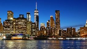 Cityscape Lower Manhattan New York City at night stock video