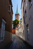 Cityscape of Lubeck old city, Germany. St. Petri Church Royalty Free Stock Images