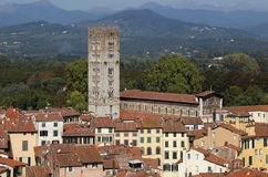 Tower of the Basilica de San Frediano in Lucca, Italy Stock Photography