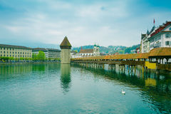 Cityscape of Lucerne with famous Chapel Bridge and lake Lucerne in Switzerland Royalty Free Stock Photo