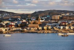 Luderitz, Namibia, Africa. Cityscape of Luderitz at sunset. Luderitz is a harbour town in southwest Namibia stock photography
