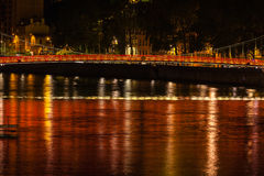 Cityscape of Lyon, France at night Royalty Free Stock Images