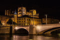 Cityscape of Lyon, France at night Royalty Free Stock Photo