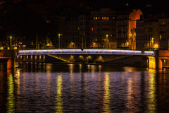 Cityscape of Lyon, France at night Stock Image