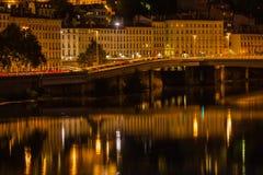 Cityscape of Lyon, France at night Stock Photos