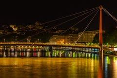Cityscape of Lyon, France at night Stock Image