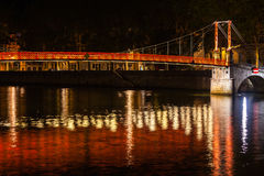 Cityscape of Lyon, France at night Royalty Free Stock Photo
