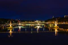 Cityscape of Lyon, France at night Stock Photo