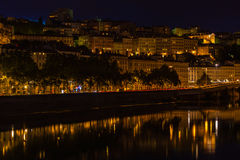 Cityscape of Lyon, France at night Stock Images
