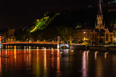 Cityscape of Lyon, France at night Stock Photography