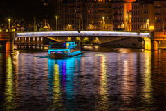 Cityscape of Lyon, France at night Royalty Free Stock Photos