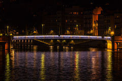 Cityscape of Lyon, France at night Royalty Free Stock Image