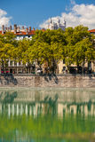 Cityscape of Lyon, France with reflections in the water Royalty Free Stock Images