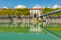 Cityscape of Lyon, France with reflections in the water Stock Photo