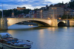 Cityscape of Lyon at night Stock Photos