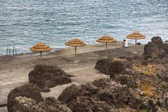 Cityscape of Madalena Resort - the beach. Madalena is a municipality along the western coast of the Pico island, encircled almost entirely by the Atlantic Ocean Stock Photo