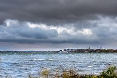 Cityscape of Madison on a Cloudy Day Royalty Free Stock Images