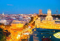 Cityscape of Madrid, Spain. Skyline of Madrid at twilight. Spain Stock Image