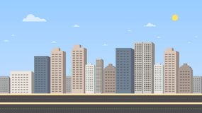 Cityscape with main street and sky background vector illustration.Buildings landscape. Daytime cityscape in flat style vector illustration