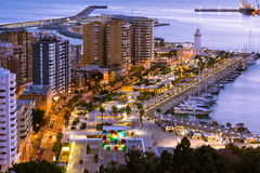 Cityscape of Malaga, Andalusia, Spain stock images