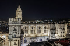 Cityscape of Malaga Cathedral by night Royalty Free Stock Photo