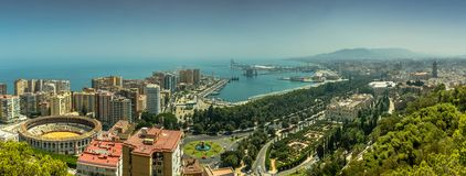 Cityscape of Malaga, Spain, including the bullring & Port stock photos
